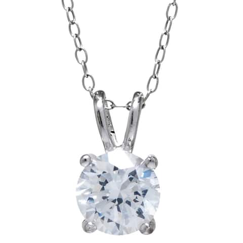 Sterling Silver Round Cut White Cubic Zirconia Solitaire Pendant Chain Necklace (18-inch)