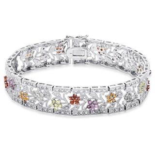 Dolce Giavonna Silver Overlay Diamond Accent Gemstone Floral Lattice Design Bracelet