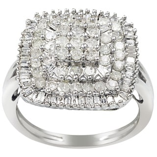 Sterling Silver 1ct TDW Diamond Square Ring (H-I, I2-I3)