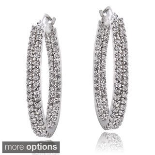 ICZ Stonez Silver Cubic Zirconia 2-row Inside Out Hoop Earrings