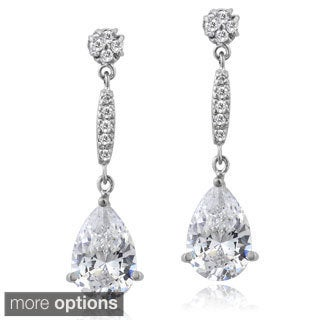 ICZ Stonez Silver Cubic Zirconia Teardrop Earrings