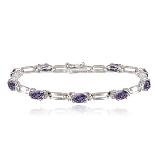 Glitzy Rocks Sterling Silver 5ct TGW Gemstone Diamond Accent Bracelet