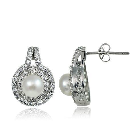 Glitzy Rocks Sterling Silver Freshwater Pearl Cubic Zirconia Earrings (6 mm)