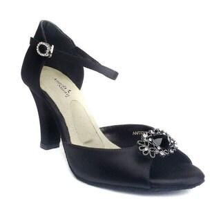 Angela Nuran Women's 'Antique' Black Silk and Leather Wedding Heels