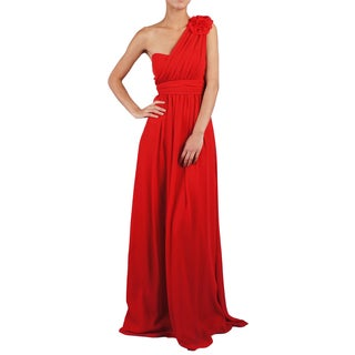 Women's One Shoulder Flower A-line Evening Dress