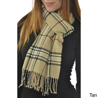 Leisureland Unisex Plaid Scarf (Option: Tan)