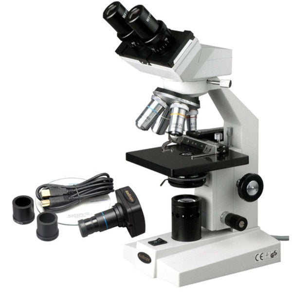 AmScope 40x-2000x Binocular Microscope with Mechanical Stage and USB Camera