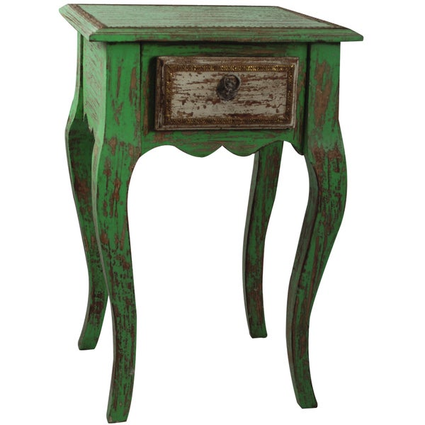Handmade Teak Wood One-drawer End Table (India)