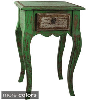 Hand-crafted Teak Wood One-drawer Side Table (India)