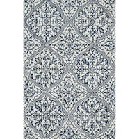 Hand-hooked Charlotte Ivory/ Blue Rug (7'6 x 9'6)