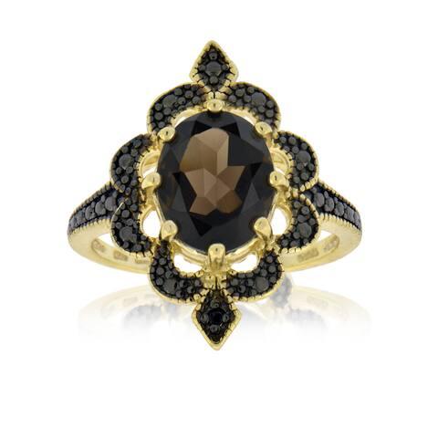 Glitzy Rocks Gold Over Silver Smokey Quartz Diamond Accent Ring