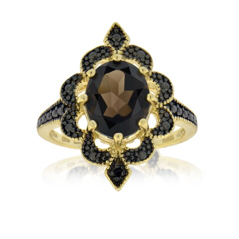Glitzy Rocks Gold Over Silver Smokey Quartz Diamond Accent Ring