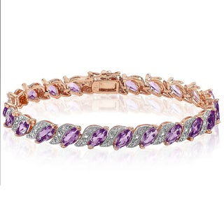 Dolce Giavonna Rose Gold Over Sterling Silver Diamond Accent and Amethyst Bracelet