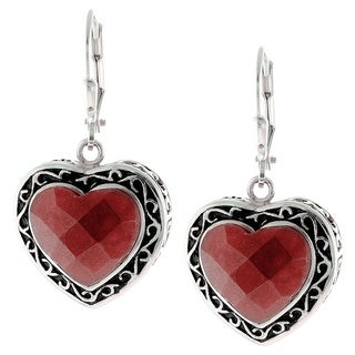 Sterling Silver Faceted Red Jade Heart Leverback Earrings