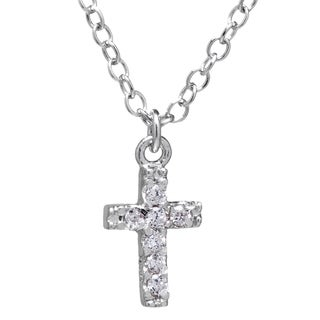 Classic Sterling Silver Round-cut Cubic Zirconia Cross 18-inch Chain Necklace