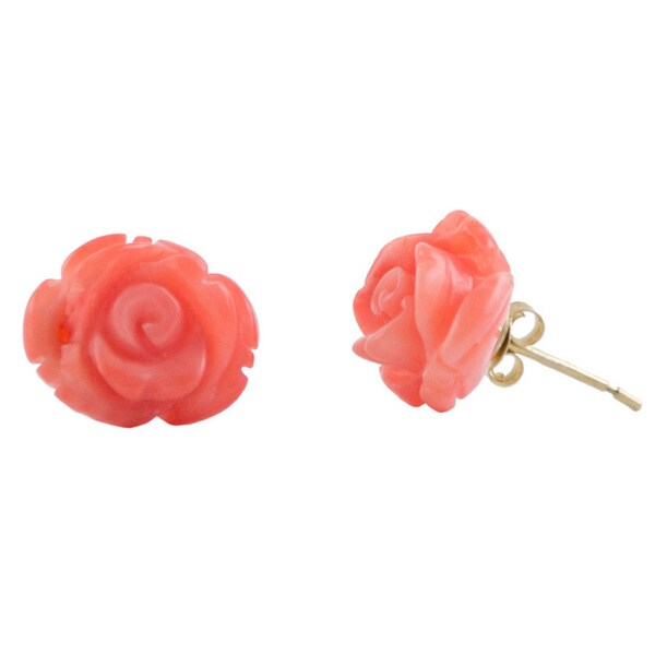 14k Yellow Gold Carved Coral Earring Studs