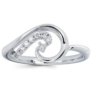 Boston Bay Diamonds 14k White Gold 1/10ct TDW Round-cut Diamond Fashion Swirl Ring (I-J, I1-I2)