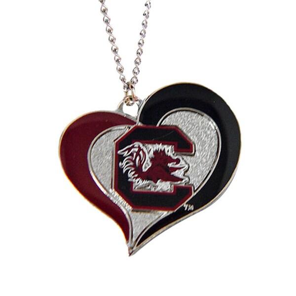 NCAA Sports Team Logo Swirl Heart Necklace Charm Gift Set