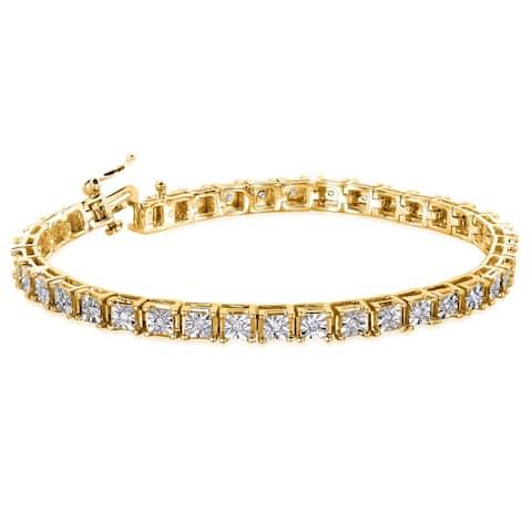 Annello by Kobelli 1/2 Carat TDW Yellow Goldplated Sterling Silver Diamond Tennis Bracelet