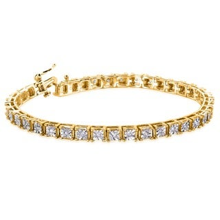 Annello by Kobelli Yellow Goldplated Silver 1/2ct TDW Square Diamond Bracelet