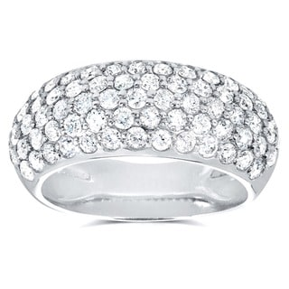 Link to Annello by Kobelli 14k White Gold 1 1/4ct TDW Pave-set Diamond Dome Wide Band Similar Items in Wedding Rings