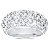 Annello by Kobelli 14k White Gold 1 1/4ct TDW Pave-set Diamond Dome Wide Band