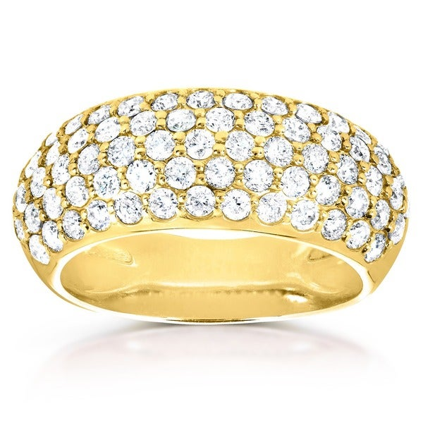 Annello by Kobelli 14k Yellow Gold 1 1/4ct TDW Pave-set Diamond Dome Wide Band