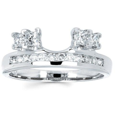 Boston Bay Diamonds 14k White Gold 3/4ct TDW Round and Princess-cut Diamond Ring Wrap (I, I1)
