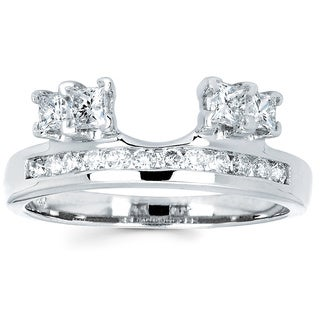 Boston Bay Diamonds 14k White Gold 3/4ct TDW Round and Princess-cut Diamond Ring Wrap (I, I1)