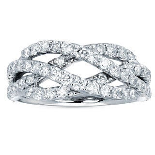 Boston Bay Diamonds 14k White Gold and 1 1/5ct TDW Diamond Fashion Weave Ring (I, I1)