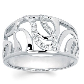 Boston Bay Diamonds 14k White Gold 1/6ct TDW Diamond Swirl Fashion Ring (I, I1)