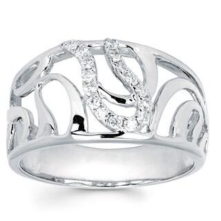 Boston Bay Diamonds 14k White Gold 1/6ct TDW Diamond Swirl Fashion Ring (I, I1)