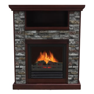 Stonegate Asheville Old Oak Electric Entertainment Center Fireplace (Option: Chestnut)