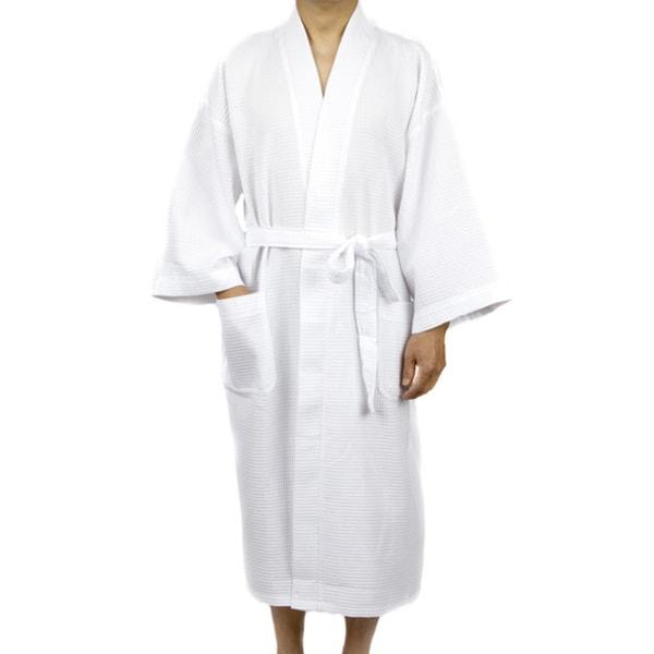 Shop Leisureland Men s White Waffle Weave 48-inch Kimono Robe ... e89ac9390