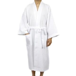 Leisureland Men's White Waffle Weave 48-inch Kimono Robe