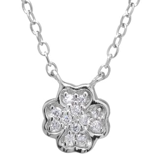 Sterling Silver Cubic Zirconia Clover Flower Charm Necklace with 2-inch Extender