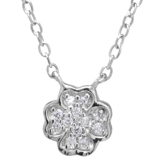 Sterling Silver Cubic Zirconia Clover Flower Charm Necklace with 2-inch Extender|https://ak1.ostkcdn.com/images/products/9665599/P16846923.jpg?impolicy=medium