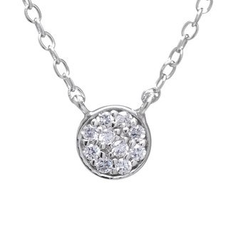 Sterling Silver White Cubic Zirconia Small Disc Necklace with 2-inch Extender
