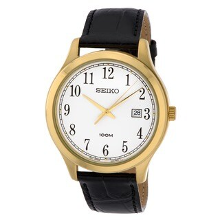 Seiko Men's SUR086 Stainless Steel Gold Tone Black Leather Watch