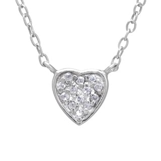 Sterling Silver Round-cut White Cubic Zirconia Heart Charm Necklace