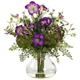 Mixed Morning Glory in Vase - Purple