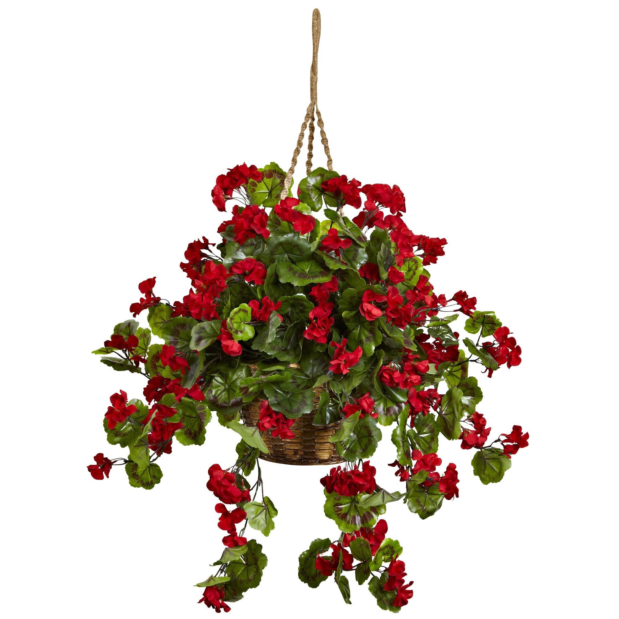 Nearly Natural Geranium Hanging Basket (Red)