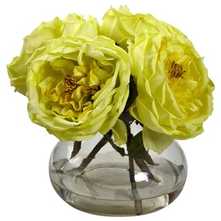 Nearly Natural Fancy Rose Floral Arrangement (Option: Yellow - Yellow)