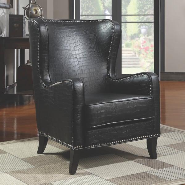 Marvelous Coaster Company Black Faux Crocodile Vinyl Upholstery Accent Chair Creativecarmelina Interior Chair Design Creativecarmelinacom