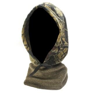 QuietWear Camo Fleece Hood with Knit Neck