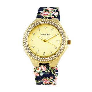Vernier Women's Soft Touch Floral Bracelet Stone Bezel Watch