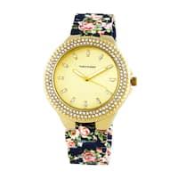 Vernier Women's Soft Touch Floral Bracelet Stone Bezel Watch