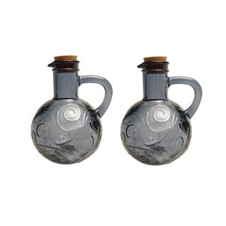 French Home 14-ounce Oyster Grey Recycled Glass Oil and Vinegar Cruet (Set of 2)