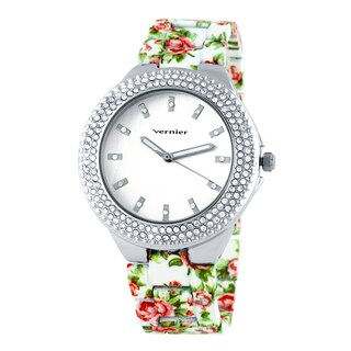 Vernier Women's Silvertone Dial Soft Touch Floral Bracelet Stone Bezel Watch|https://ak1.ostkcdn.com/images/products/9666313/P16847998.jpg?_ostk_perf_=percv&impolicy=medium