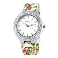 Vernier Women's Silvertone Dial Soft Touch Floral Bracelet Stone Bezel Watch